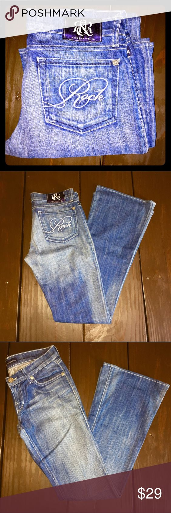Rock & Republic jeans Worn once or twice! Great condition. The bleached areas are not quite as white as in the pictures. Slightly lighter than the rest of the jeans. Rock & Republic Jeans Boot Cut