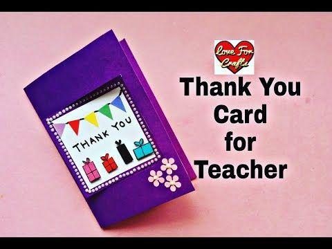 Thank You Card For Teacher Easy Handmade Greeting Card Diy Gift Idea Youtube Greeting Cards For Teachers Happy Birthday Cards Printable Teacher Cards