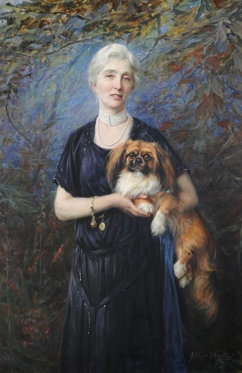 George Hillyard Swinstead, (1860-1926) Portrait of Mrs Reuben Harrinson and her dog 1921.