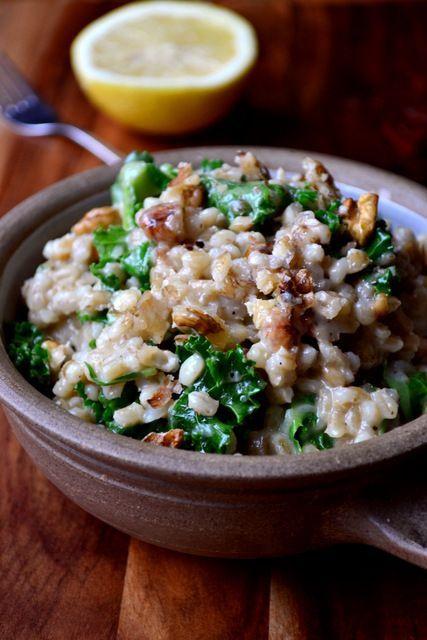Kale, Walnut and Lemon Pearl Barley Risotto | Frugal Feeding