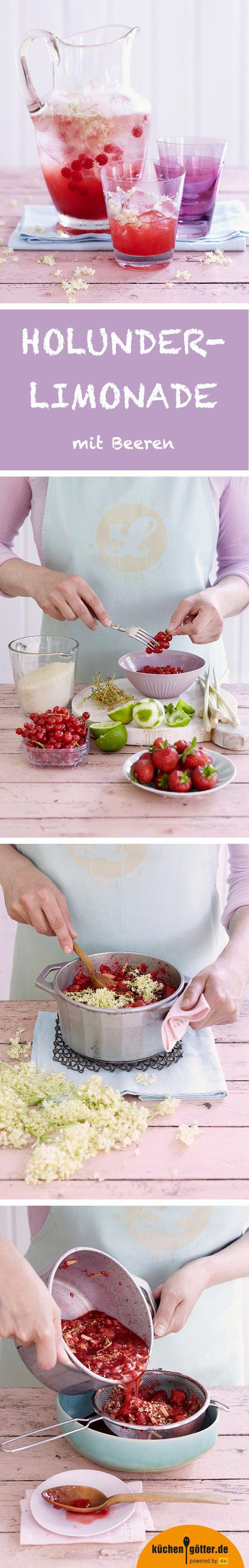HOLUNDERLIMONADE MIT BEEREN - Als hätte man den Sommer im Glas: An heißen Tagen sorgt diese fruchtige Limo aus selbst gemachtem Holunderblütensirup, Erdbeeren und Johannisbeeren für prickelnde Erfrischung. Wer auf die leicht würzige Schärfe Ingwers steht, kann das Rezept auch noch anpassen: Einfach statt Zitronengras Ingwer verwenden.