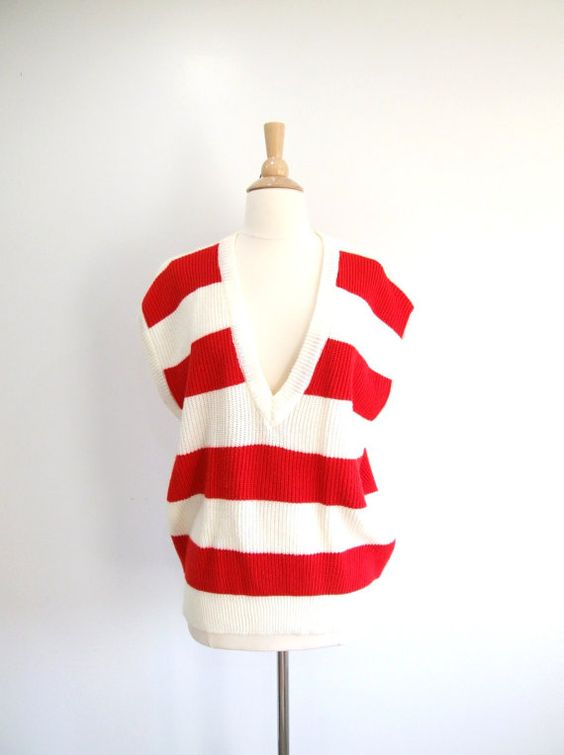 Vintage Striped Sweater Red & White Sweater by RedsThreadsVintage, $28.00