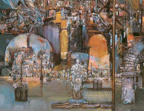 Teatro di memoria 1984-85 Pastello su tela 90X70 cm