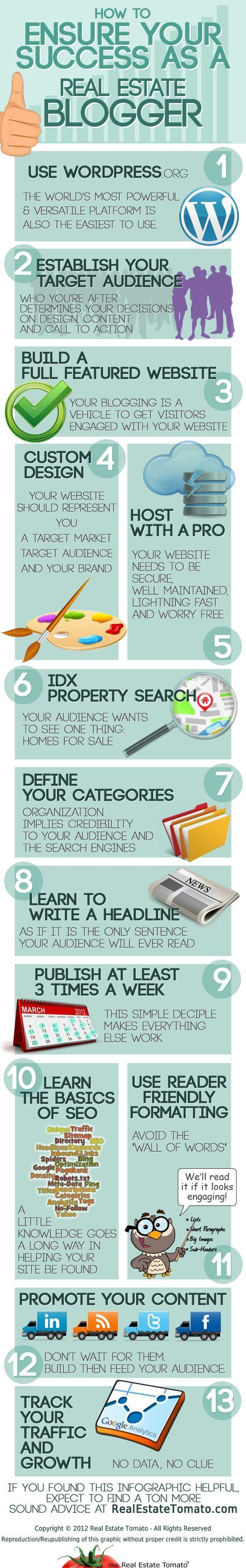 How To Ensure Your Success As A #RealEstate #Blogger –  #Infographic