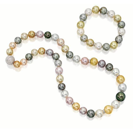 MULTI-COLOURED CULTURED PEARL AND DIAMOND NECKLACE AND MATCHING BRACELET
