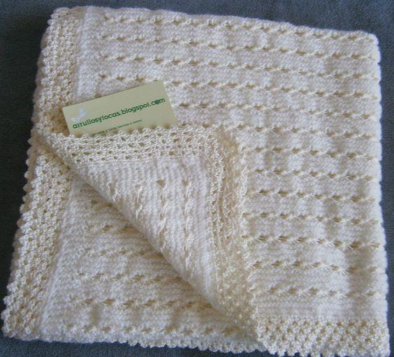 Toca de lana beig hecha a mano arrullos de beb hechos a - Mantas de punto hechas a mano ...