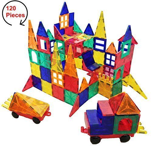120 Piece Magnetic Building Tiles Set Kids Educational Toy Blocks Outdoor Games Educational Toys For Kids Toy Blocks Magnetic Building Tiles