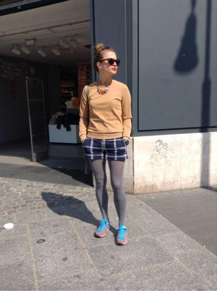 AND OTHER STORIES Top, t-shirt, débardeur - DEPT Short, Bermuda - NEW BALANCE Baskets, sneakers - CALZEDONIA Chaussettes, collants, bas, jambières - POLICE Lunettes de Soleil - MIRA VIDI Collier, sautoirs, pendentif #women #mode #look #streetstyle http://moodlook.com/look/2014-04-11-france-paris-1