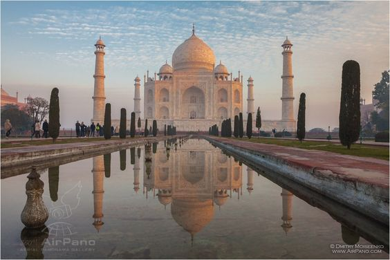 Taj Mahal is not just one of the most famous India landmarks. It is a rare monument, which needs to be seen and also to be felt.: Love India, India Landmarks, India 360, India Taj, Map Airpiano, Mahal Reflections, Canals Divide, Magic Reflection, Famous India