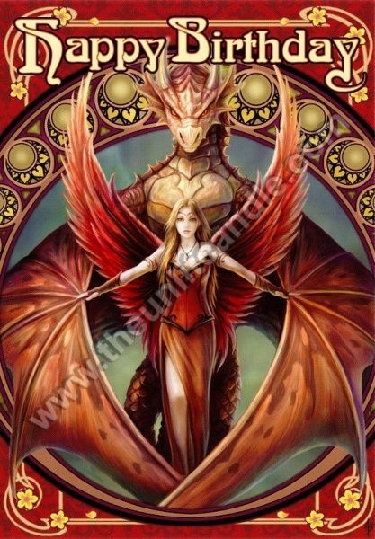Copperwing - Birthday Card by Anne Stokes