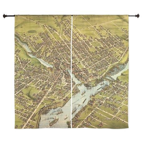 Vintage Pictorial Map Of Bangor Maine 60 Curtains On Cafepress