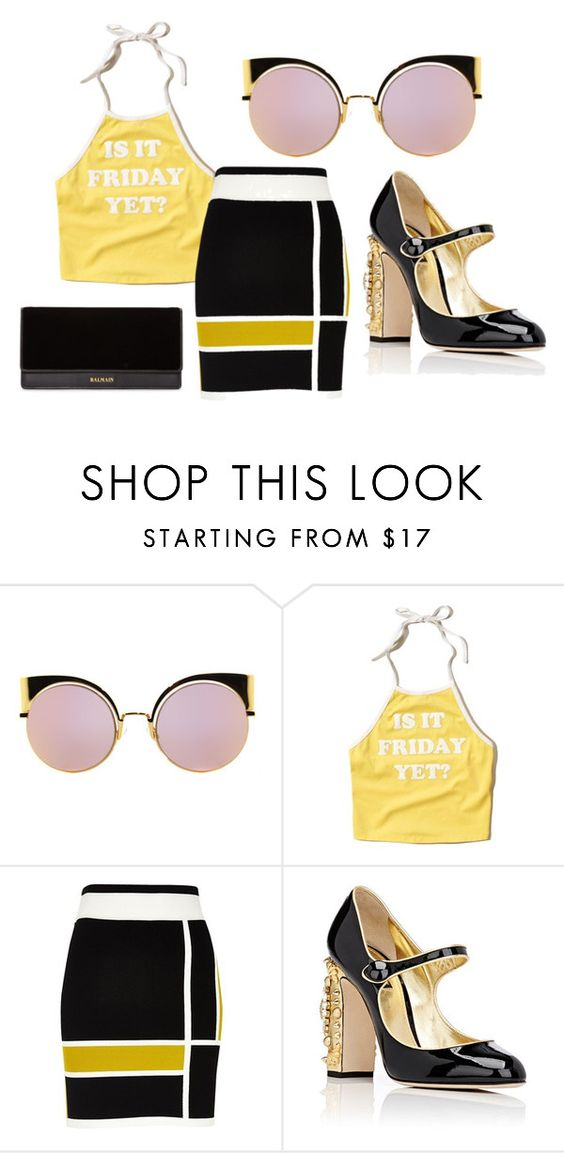 """""""Friday"""" by missmb on Polyvore featuring Fendi, Hollister Co., River Island, Dolce&Gabbana and Balmain"""