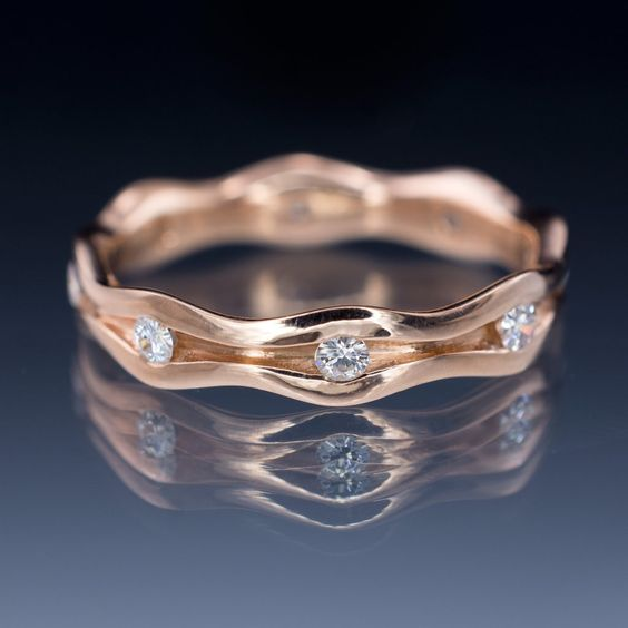 Wave Moissanite Eternity Rose Gold Wedding Ring