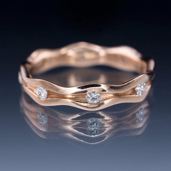 Wave Moissanite Eternity Rose Gold Wedding Ring