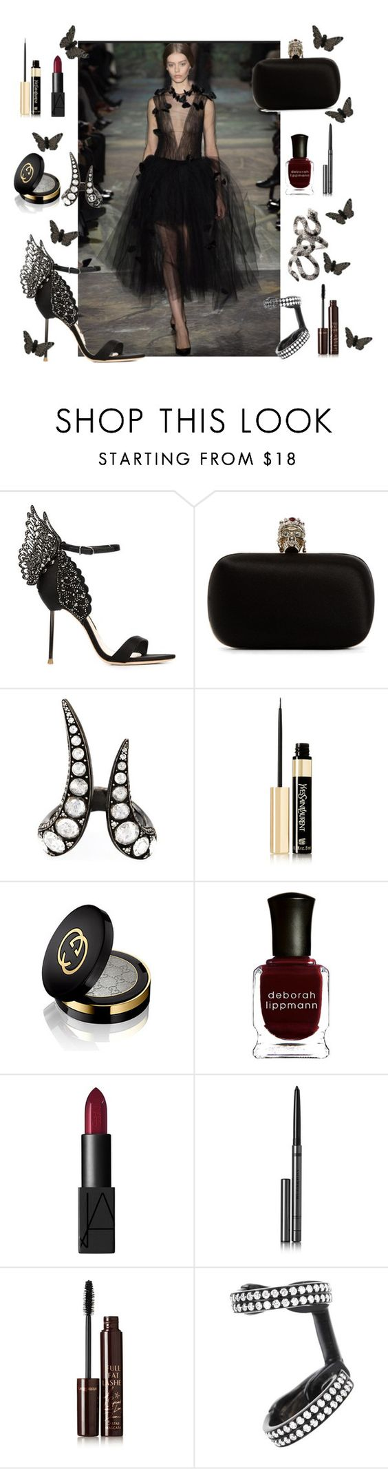 """""""A walk on the dark side in Valentino"""" by anujabalaji ❤ liked on Polyvore featuring Sophia Webster, Alexander McQueen, Monan, Yves Saint Laurent, Gucci, Deborah Lippmann, NARS Cosmetics, Burberry, Charlotte Tilbury and Repossi"""