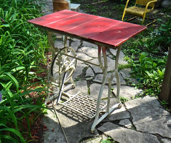 Table, Industrial Table, Repurposed Treadle, Industrial Furniture, Treadle Iron Legs, Red Table, Boho Decor, Small Table, Steampunk Decor by MaxsUniquities on Etsy