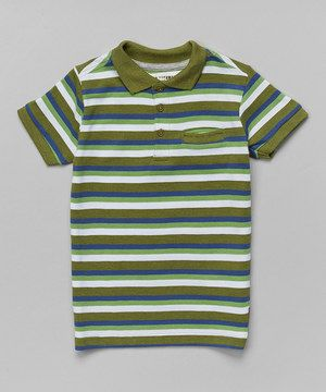 Loving this Ben Sherman Green & White Stripe Polo - Toddler & Boys on #zulily! #zulilyfinds