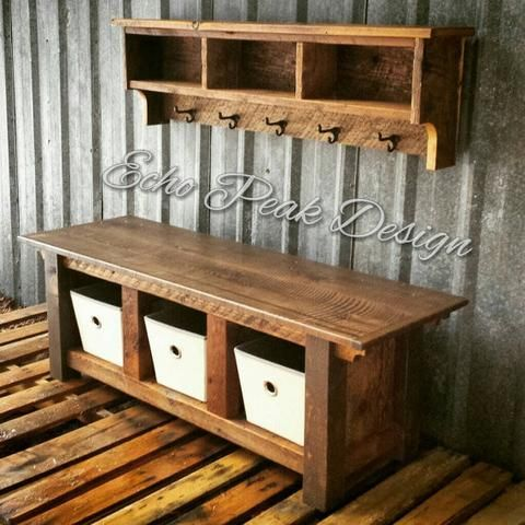 Farmhouse Bench And Shelf Cubby Set Barn Wood Crafts Rustic