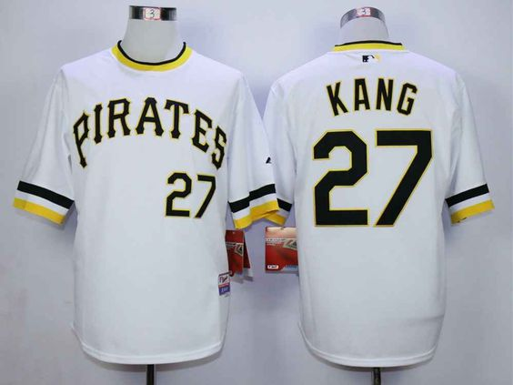 4590f6f7b ... Mens Pittsburgh Pirates 27 Jung-Ho Kang White Cool Base Jersey ...