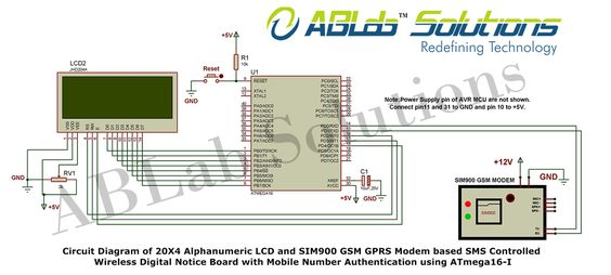 20x4 Alphanumeric Lcd And Sim900 Gsmgprs Modem Based Sms Controlled
