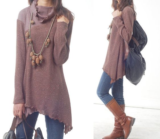 Face  layered woolen tunic dress