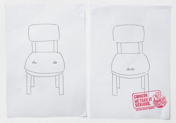 """Comedy Central: Chair """"Comedy. We take it serious."""" (by kempertrautmann, Hamburg, Germany)"""