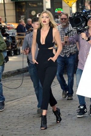 Gigi Hadid wearing Stella McCartney Naomi Jumpsuit and Giuseppe Zanotti Embossed Lace-Up Sandals