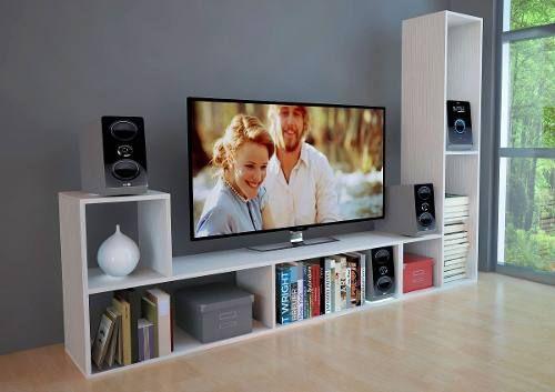 Combo X 2 Modulos L Para Tv Rack Mesa Modular Pino Fabrica
