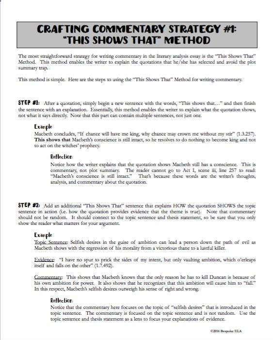 Essay Writing Teaching Students How To Write Commentary For The