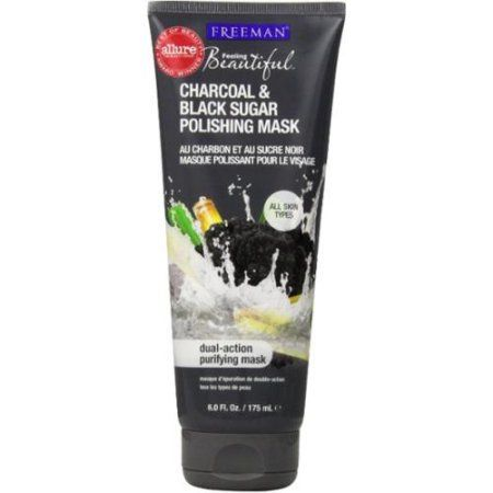 Freeman Feeling Beautiful Facial Polishing Mask, Charcoal & Black Sugar 6 oz (Pack of 2)