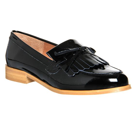 Office Limelight High Vamp Loafer Black Patent Leather - Flats