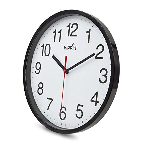 Hippih Black Wall Clock Silent Non Ticking Quality Quartz 10 Inch Round Easy To Read For Home Office School Clock Red Second Hand Lavorist In 2020 Black Wall Clock Wall