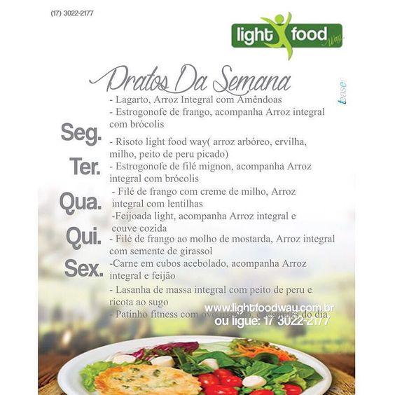 Cardápio da semana... Ligue (17) 3022 2177  3222 5632 ou pelo Whatsapp ( 17 )98223- 8003 e peça!  #lightfoodway #delivery #saúde #vidasaudável #refeições #dietas #light #detox #suco #almoço #jantar #lanche #refeiçãocompleta #semglúten #lowcarb #sejalightfoodway #esseéocaminho    by lightfoodway