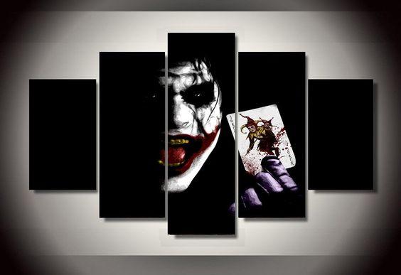 The+Joker+Batman+DC+Comics+5pc+Wall+Decor+Framed+Oil+Painting+#4