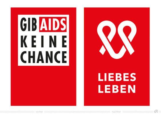 Gib AIDS keine Chance – LIEBESLEBEN Logo – vorher und nachhe