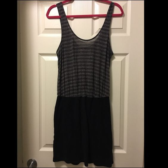 Free People Dress Black and gray striped top with black bodycon bottom. Worn a few times. Stretchy! Free People Dresses Mini