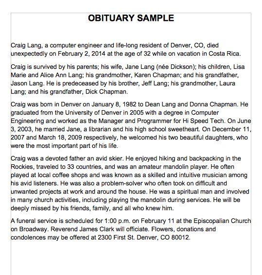 Obituary Sample Template Obituaries Template Eulogy Examples