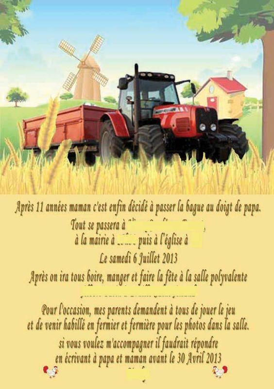 faire part mariage th 232 me quot fermiers amoureux quot ferme tracteur et vaches mari 233 s enfant chien