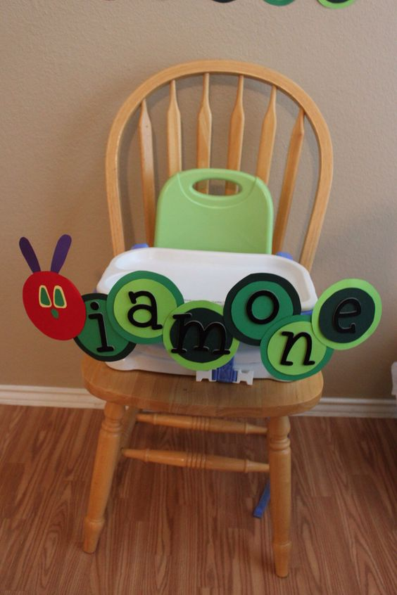 We could use paper plates to decorate front of high chair.