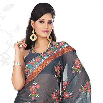 Greyish Blue Crushed Faux Georgette Saree with Blouse