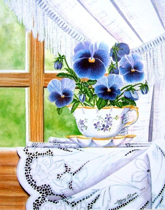 Mary Irwin —  Cup -a- Pansies and Lace  (700x894):