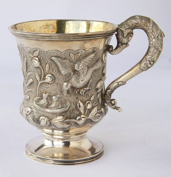 William IV Ornithological Christening Mug hallmarked, London, 1831, John James…