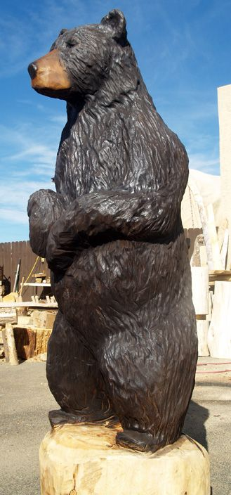 Life sized black bear carving fun with wood pinterest