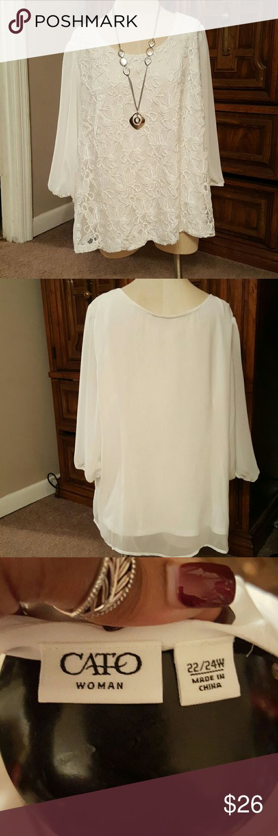 Sheer perfection Complimentary Blouse no matter how you wear it. Sheer sleeves with lace front and a second layer underneath. Perfect with jeans and heels or dress pants. Does have a couple of little fuzzies that can eazily be gotten with a lint roller.  Material: 55% polyester 44% nylon Back and sleeve 100% polyester Cato Tops Blouses