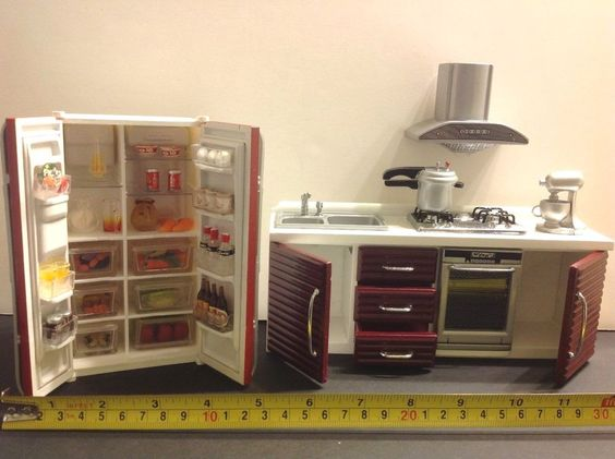 Dollhouse Miniature Modern Kitchen Furniture Burgundy1:12 Stove/Sink/Frigew/Food