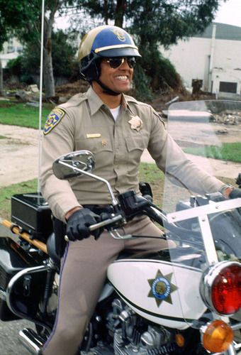 CHiPs, starring Erik Estrada (Ponch) and Larry Wilcox (John). A 1977-1983 TV show of two California Highway Patrol motorcycle officers. Image ft. Erik Estrada.