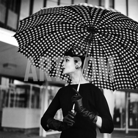 Checked Parasol, New Trend in Womens Accessories, Used at Roosevelt Raceway Photographic Print by Nina Leen at Art.co.uk