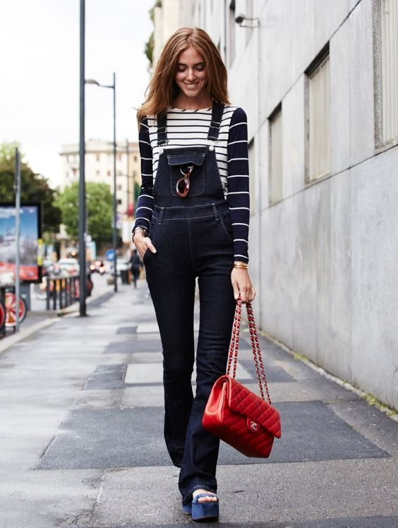 striped top 2017 with  flared overalls