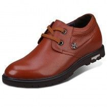 Brown full grain cowhide plain toe taller casual shoes increasing height 7cm / 2.75inches