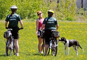 MICHAEL GALLACHER/Missoulian  If you have your dog off leash on public land in the Missoula city limits, expect to meet a member of Missoula's new Animal Control bike patrol. Most offenders are let off with a warning, but a second offense could result in a ticket. Read more: http://missoulian.com/news/local/missoula-animal-control-to-patrol-on-bicycle-for-off-leash/article_07e1264c-997d-11e1-bcd7-0019bb2963f4.html#ixzz1uNkp8M59